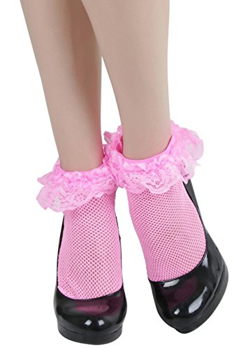ToBeInStyle Women's Fishnet Anklet With Ruffle Trim - NEONPINK - OSR ()