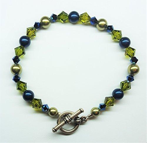 - Metallic Blue Olivine Pearl Austrian Crystal Bracelet