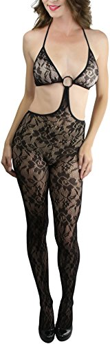 O-ring Halter Neck (ToBeInStyle Women's Floral Halter Neck Cut Out Bodystocking ORing Accent - BLACK)