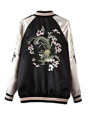 Ecollection® Damen Jahrgang Bomberjacke Stickerei Klassisch Bikerjacke Mantel Vintage Bomber Jacket Flower Embroidery Classic Zip up Biker Jacket Stylish Coat Both sides wearing