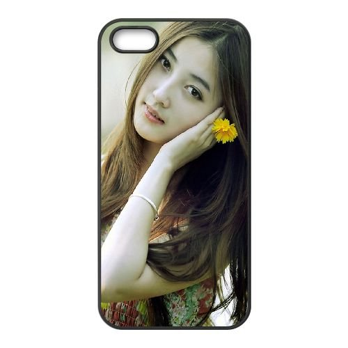 Girl Flower Asian Model 79333 coque iPhone 4 4S cellulaire cas coque de téléphone cas téléphone cellulaire noir couvercle EEEXLKNBC25343