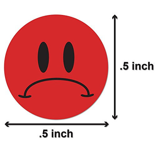 Unhappy Sad Frowny Face Circle Round Labels Self Adhesive Stickers (Red Black / .5