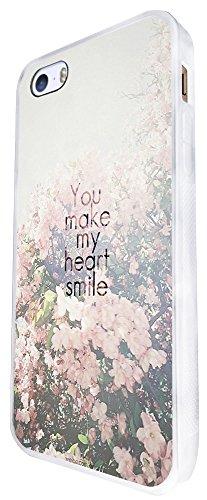 1181 - Floral Shabby Chic Roses You Make My Heart Smile Design iphone SE - 2016 Coque Fashion Trend Case Coque Protection Cover plastique et métal - Blanc