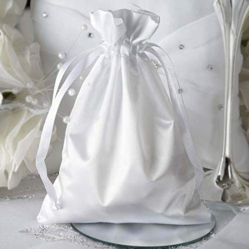 (Efavormart 12PCS White Satin Gift Bag Drawstring Pouch Wedding Favors Bridal Shower Candy Jewelry Bags - 5