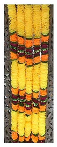 R and D Handicrafts 5 Pack Artificial Yellow Fusion Flower Garland 5ft Long- for use in Indian Weddings, Indian Party Decorations, Diwali, Ganesh Fest, Cinco De Mayo, Dia De Los Muertes