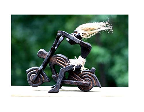 G6 Collection Handmade Wooden Single Primitive Tribal Funny Statue Riding Harley Davidson Motorcycle Sculpture Tiki Bar Handcrafted Unique Gift Decorative Home Decor Figurine Decoration Hand - Biker Collection Figurine