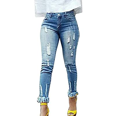 LIYT Women's Fashion Foot Mouth Tassel Slim Fit Broken Hole Ripped Jeans Pencil Pants