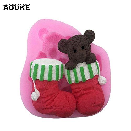 Bear Christmas Socks Cute Animals Fondant Cake Silicone Mold Chocolate Pastry Mould Jello Pudding Molds DIY Cake Baking Tools