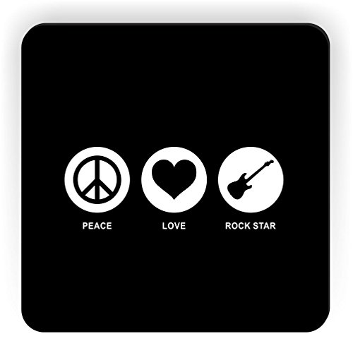 Rikki Knight Peace Love Rock Star Design Square Fridge Magnet, Black