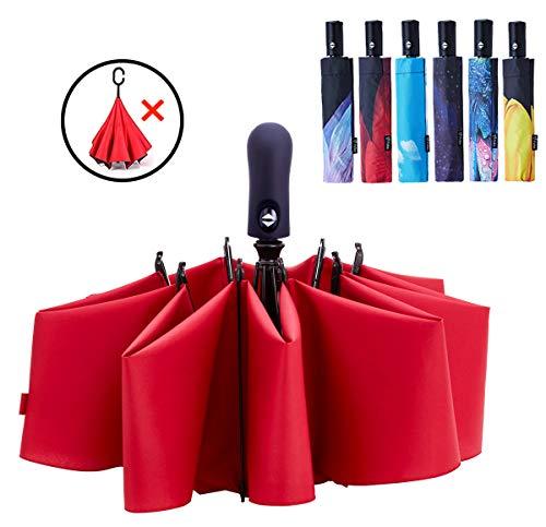 Fidus Inverted Reverse Sun&Rain Car Umbrella Large Windproof Travel UV Umbrella for Women Men - Auto Open Close(WineRed)