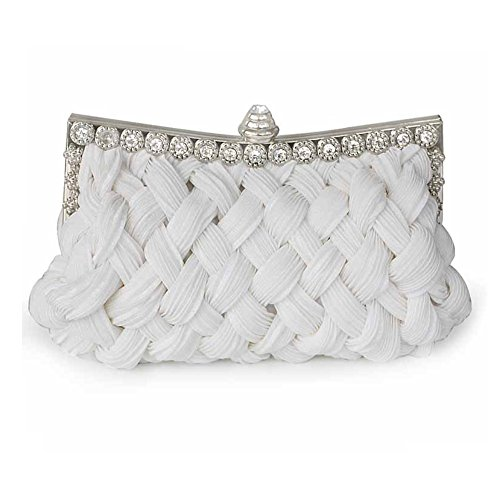 Party Fashion Bag Package Evening White Weave Handbag SHISHANG Magnetic Bag ZYXCC Bridesmaid Bride Satin Buckle xqAPR