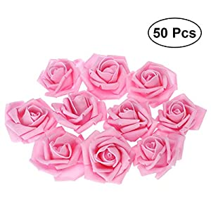 Tinksky 50pcs Artificial Floral Foam Roses Flowers for Home Wedding Arrangement Bouquet Decoration (Pink) 42