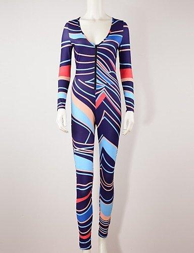 GSP-Damen Jumpsuits - Sexy / Bedruckt Langarm Polyester Mikro-elastisch