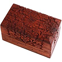 Store Indya Exotic Hand Carved Wooden Desk Stationary Organizer Visiting Cards / Pen Pencil / Office Supplies Holder Keepsake Storage Travel Box Organizer Multipurpose