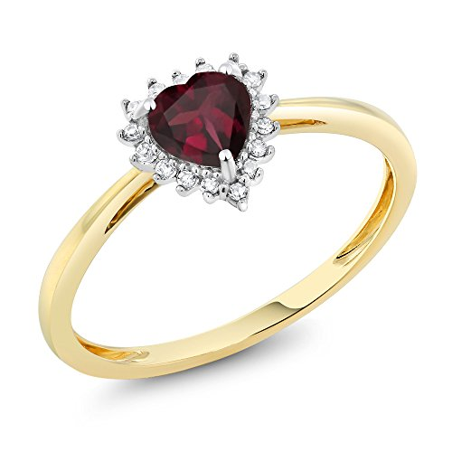 10K Two-Tone Gold 5mm Red Rhodolite Garnet and Diamond Heart Shape (10k Rhodolite Ring)