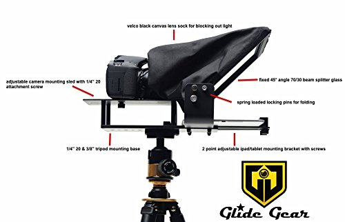 Glide Gear TMP100 Adjustable iPad// Tablet// Smartphone Teleprompter Beam Splitter 70//30 Glass w// Carry Case No Plastic All Metal No Assembly Required