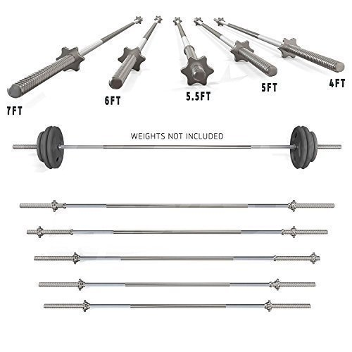 TNP Accessories 1' Solid Weight Lifting Chrome Barbell Bar 4ft, 5ft, 6ft, 7ft with Free Spinlock Collars Set