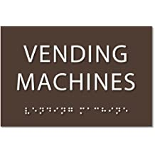 """Vending Machines Sign - ADA compliant sign. 6""""x4"""" sign made from durable plastic with raised lettering and Braille. Designed to meet ADA (Americans with Disabilities Act) regulations. Available in 17 colors."""