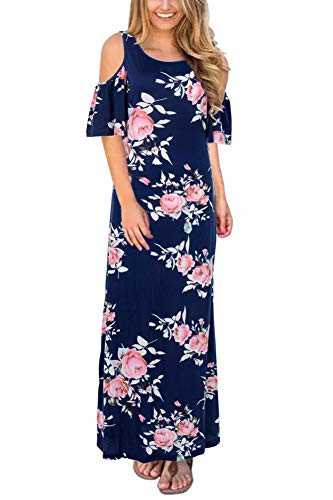 Print Print Navy Floral Flare Gorlya Maxi Long Loose Women's Casual Cold Sleeve Dress Short Shoulder gxfXw