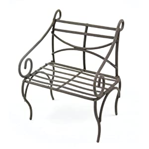 Touch of Nature Mini Iron Fairy Garden Bench, Rustic