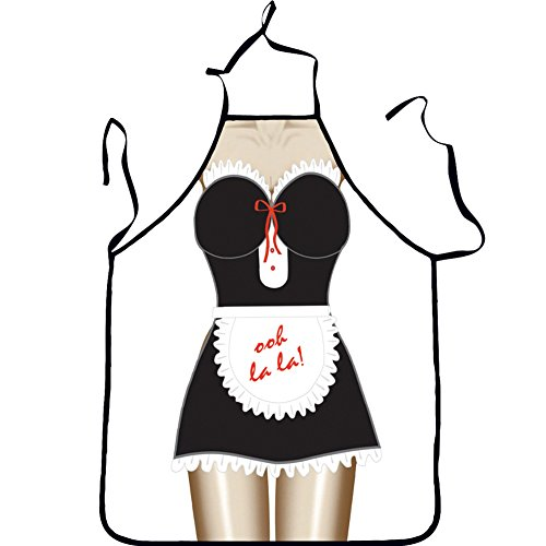 QEES Hot Lovely Funny Aprons Kitchen Apron Funny Creative Cooking Aprons for Women Ladies Girlfriend Christmas Birthday Gifts WQ10 (French - Apron French Maid Sexy