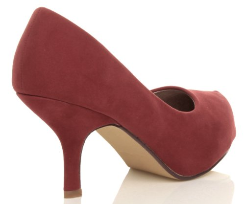 Ajvani - Zapatos de tacón para mujer Dark Red Suede