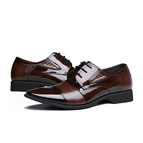 Brown Lace Mens Formal Formal up Leather Brown Business Smart Black Shoes New Casual HUAN Work U8w6xqBA