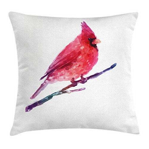 Lunarable Bird Throw Pillow Cushion Cover, Watercolor Cardinal Artistic Display Winter Season Wildlife Christmas Holiday, Decorative Square Accent Pillow Case, 20 X 20 Inches, Dark Coral Purple