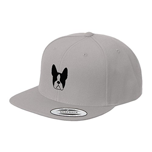 Terrier Embroidered Cap (Boston Terrier Face Embroidered Flat Visor Snapback Hat Silver)