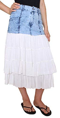 (Sacred Threads Blue-Jean Skirt w/White Ruffles – #215568 (Large))