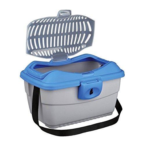 Trixie 39802 Transportbox Mini-Capri, 40 × 22 × 30 cm, dunkelgrau/hellblau