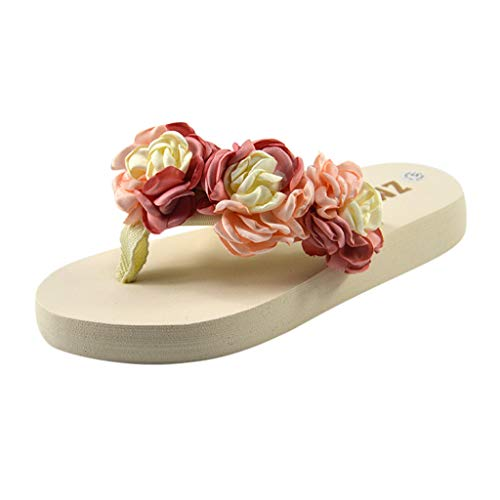 (Women's Summer Flip Flops,LuluZanm Sale! Ladies Hermitage Flower-Cake Beach Slippers All-Purpose Camelli Flat Shoes Pink)