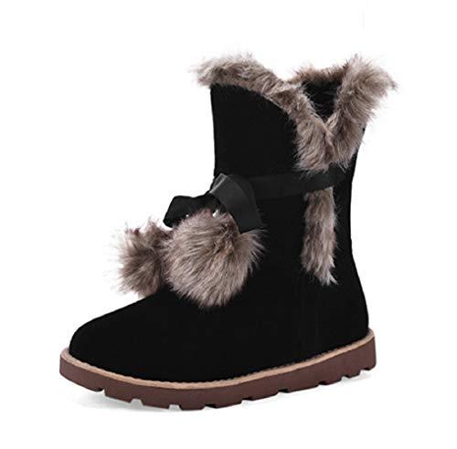 Botas de nieve Ugg de media pierna para mujer   Pom Pom Botines de invierno  impermeables 8b5ca7801a291
