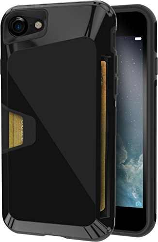 Price comparison product image Silk iPhone 7 Rugged Wallet Case - Vault Armor Wallet for iPhone 7 [Protective Non-Slip Grip Credit Card Cover] - Jet Black