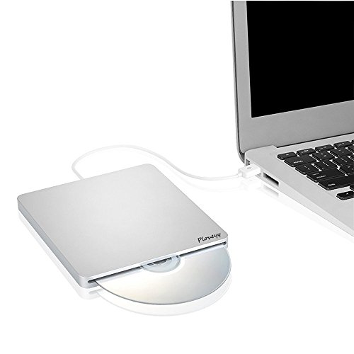 Ploveyy USB External DVD-Reader with CD-RW Burner Drive For All System Windows 2000/XP/Vista/Win 7/Win 8/Win 10 Notebook PC Desktop Computer for Apple Mac Macbook Pro/ Air iMac (Silver) by Ploveyy (Image #1)