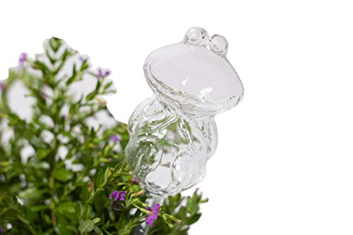 Automatic Flower Slow Drip Watering Hand Blown Clear Glass Frog Shaped PlantSelf Watering System Irrigation forIndoor Outdoor Planter WaterContainer Potted Plant Waterer Decoration(Frog)