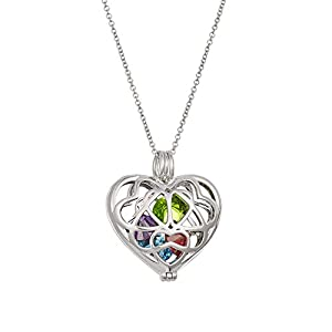 """Sterling Silver Personalized 6mm Round Simulated Birthstone Heart Caged Locket (16"""" chain) from Eve's Addiction"""