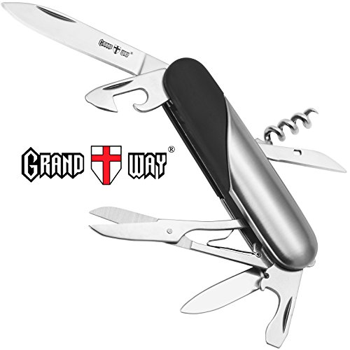 Multi Function Stylish Knife 8-in-1 with Corkscrew and Scissors - Utility Tool, Good for Camping, Hunting, Survival, Hiking and Outdoor Activities - Grand Way 33125