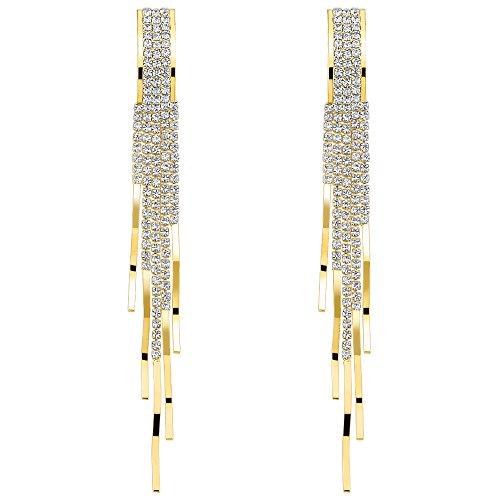 Gold Chandelier Earrings Dangle Clear Crystal Tassel Long Earrings Women Elegant Bridal Wedding Jewelry ()