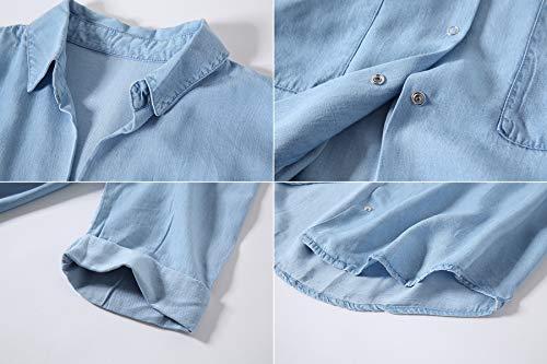 4d392da70ddfb Escalier Women s Denim Shirt Chambray Tencel Long Sleeve Button Down Shirts  Oversize Blouse Blue M