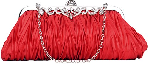Pulama 1920s Crossbody Bag for Women, Vintage Evening Clutch Purse Wallet, Sexy Red