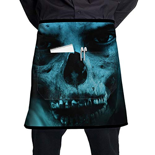 Scary Halloween Clown Doll Sweet Home Vampire Dirty BBQ Waiter Housekeeper Pet Grooming Bartender Kitchen Beautician Hairstylist Nail Salon Carpenter Shoeing Wood Painting Artist Pocket Half Apron ()