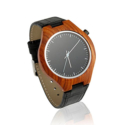 Oct17 Luxury Men's Wooden Bamboo Wood Watch Quartz Fashion Leather Wristwatches Casual Black Watches (Watch Mk World Map)