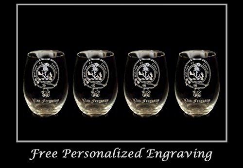 Fergusson/Ferguson Scottish Clan Crest Clear Stemless Wine Glass 18 oz Set of 4 - Free Personalized Engraving, Celtic Decor, Scottish Wedding Glass ()