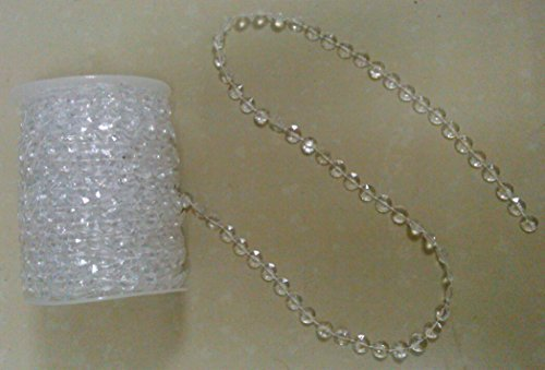DYQWT 99ft clear crystal beads wedding party chandeliers decorations by (Strung Strand)
