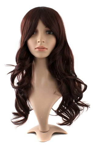 MapofBeauty 24 Inch/60cm Charming Synthetic Fiber Long Wavy Hair Wig Women's Party Full Wig (Dark Brown) ()