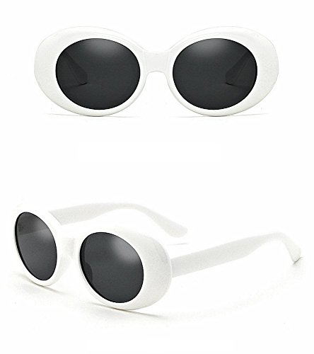 Small Kine Trendz - Clout Goggles White | Bold Retro Oval Mod Sunglasses | Thick Frame Round Lens Kurt Cobain Glasses | Instant Clout - Best Quality - Boss Goggles