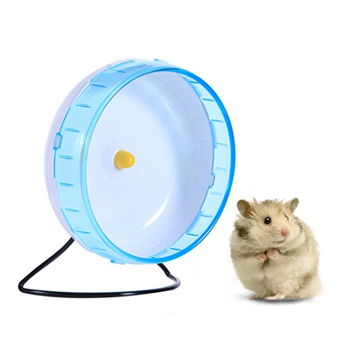 Hamster Wheel 8.3 Inches Durable Exercise Running Wheel for Gerbils Hamsters Mice Chinchilla and other Small Animals Stand with Removable Shaft Blue ()