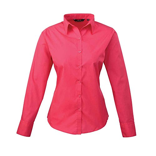 Premier Womens Poplin Long Sleeve Formal Work Blouse Shirt Hot Pink
