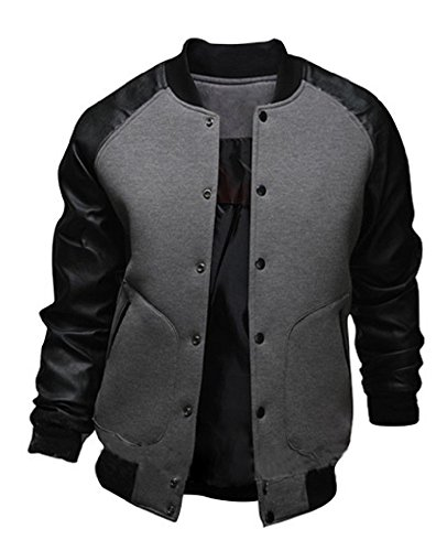 Sorrica Mens Fashion Splicing Leather Sleeve Baseball Varsity Bomber Jacket (US Small, Dark Grey) ()